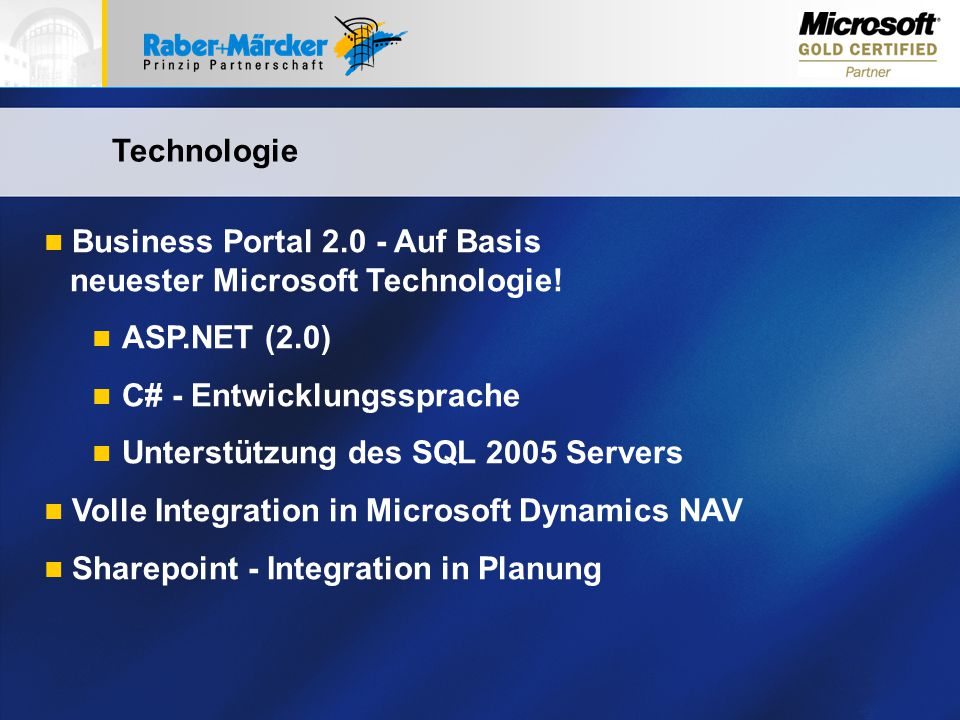 Business Portal Auf Basis neuester Microsoft Technologie!