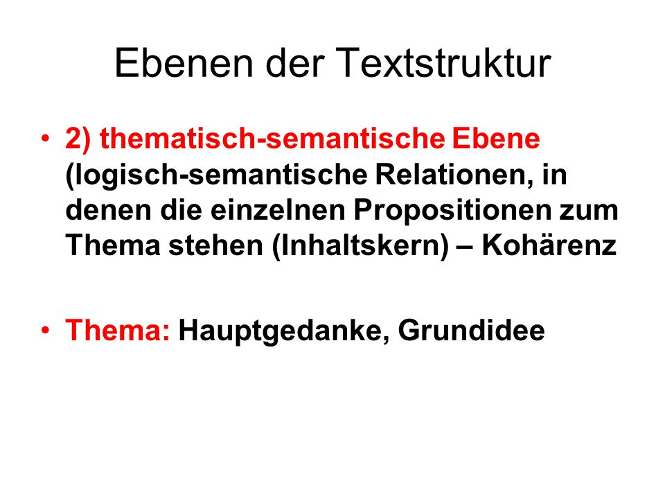 Ebenen der Textstruktur