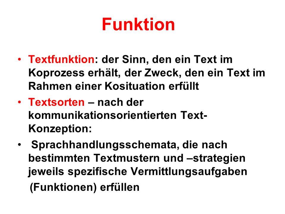 Funktion Textfunktion: der Sinn, den ein Text im Koprozess erhält, der Zweck, den ein Text im Rahmen einer Kosituation erfüllt.