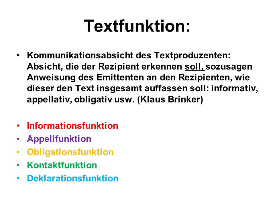 Textfunktion: