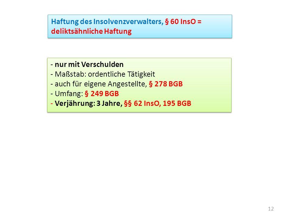 Haftung des Insolvenzverwalters, § 60 InsO = deliktsähnliche Haftung