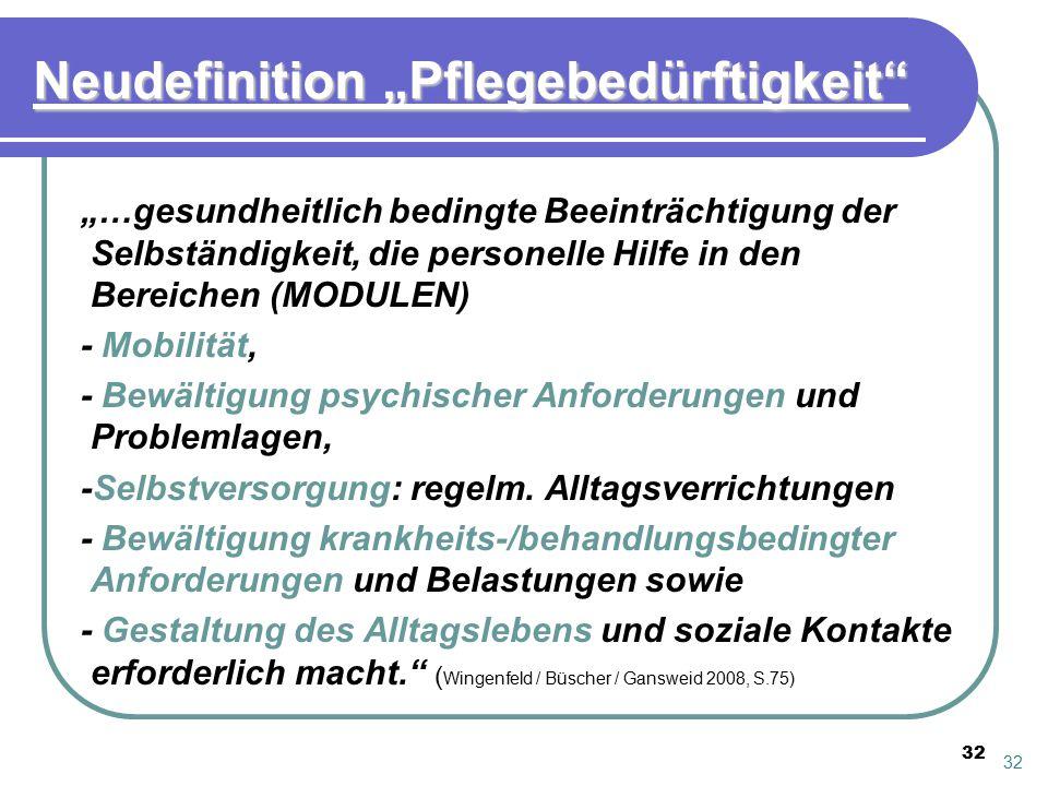 """Neudefinition """"Pflegebedürftigkeit"""