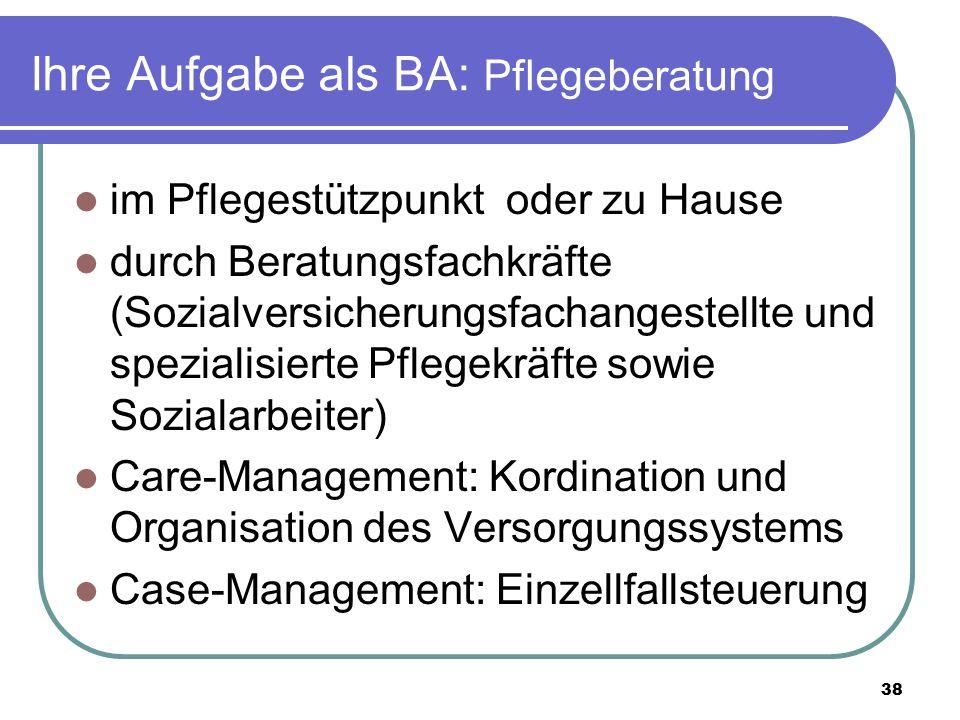 Ihre Aufgabe als BA: Pflegeberatung