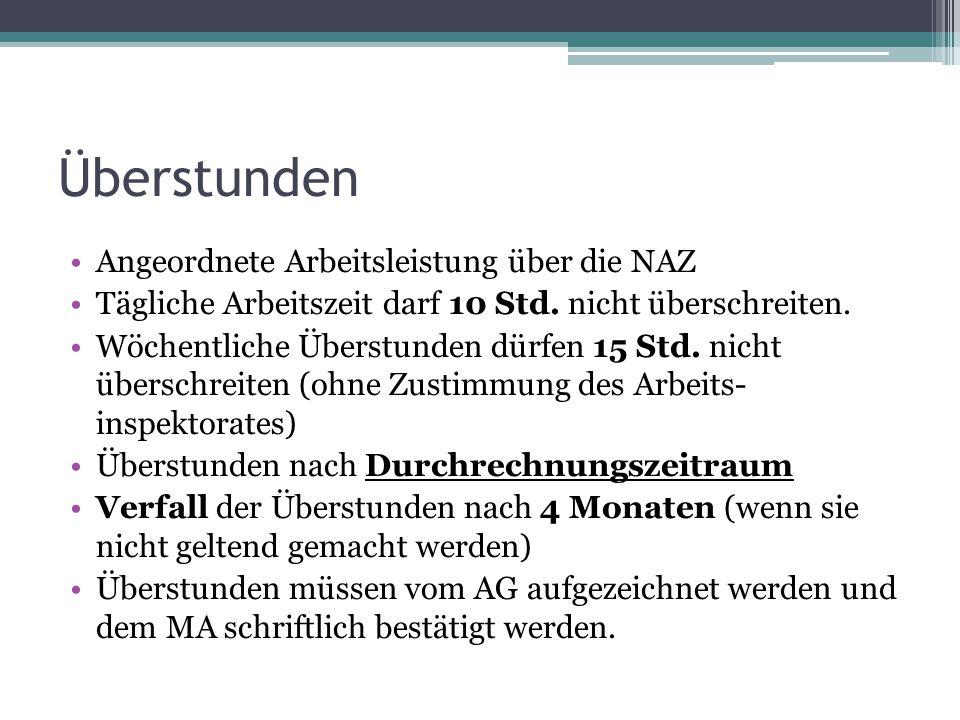 Überstunden Angeordnete Arbeitsleistung über die NAZ