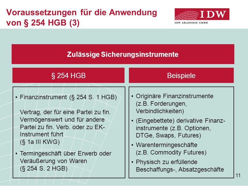 Voraussetzungen für die Anwendung von § 254 HGB (3)