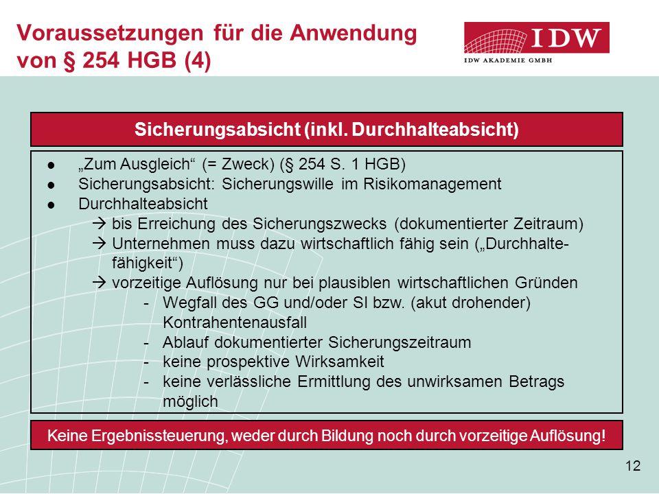 Voraussetzungen für die Anwendung von § 254 HGB (4)