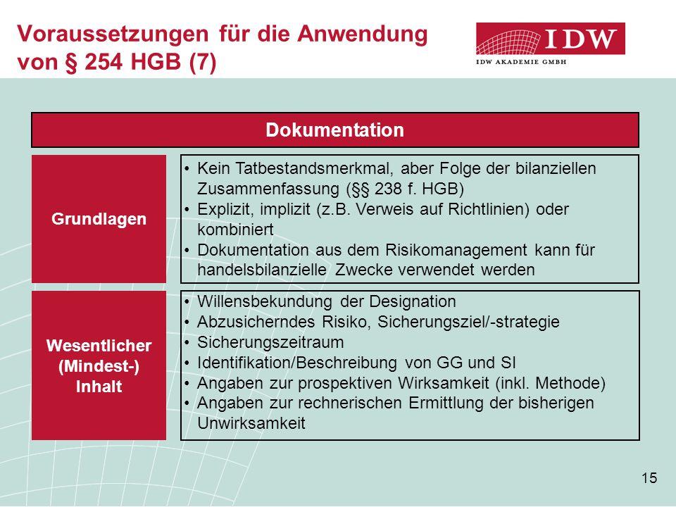 Voraussetzungen für die Anwendung von § 254 HGB (7)