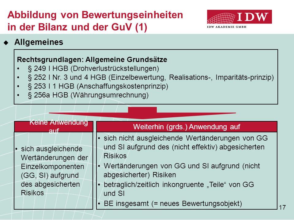 Abbildung von Bewertungseinheiten in der Bilanz und der GuV (1)