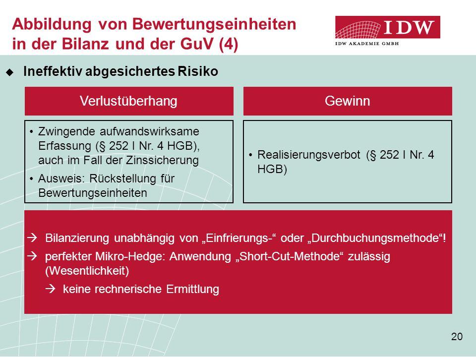 Abbildung von Bewertungseinheiten in der Bilanz und der GuV (4)