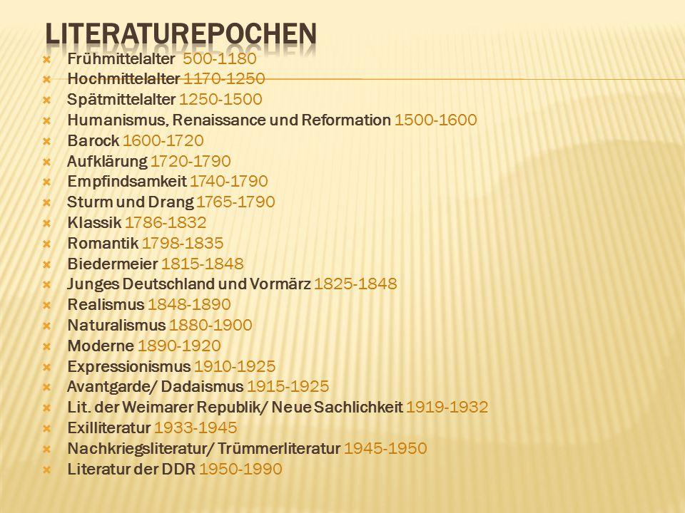 Literaturepochen Frühmittelalter 500-1180 Hochmittelalter 1170-1250