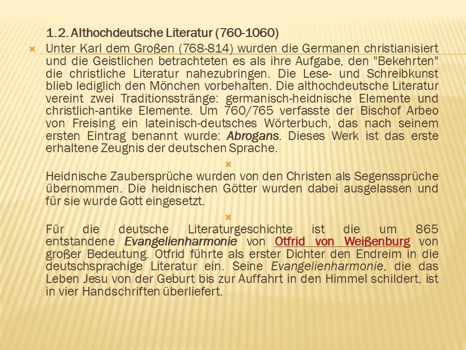 1.2. Althochdeutsche Literatur (760-1060)