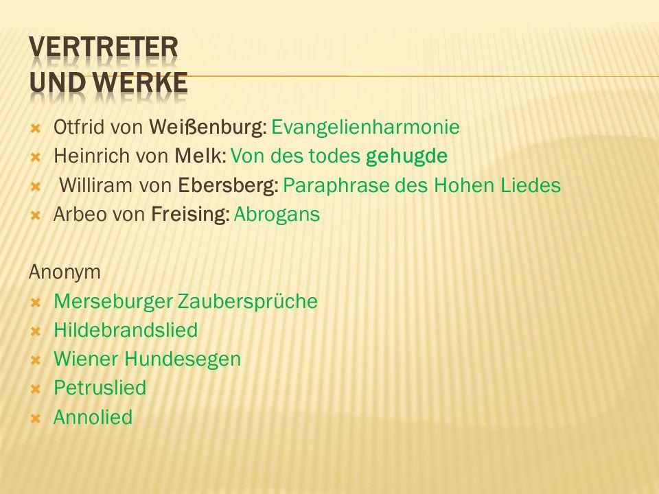 Vertreter und Werke Otfrid von Weißenburg: Evangelienharmonie