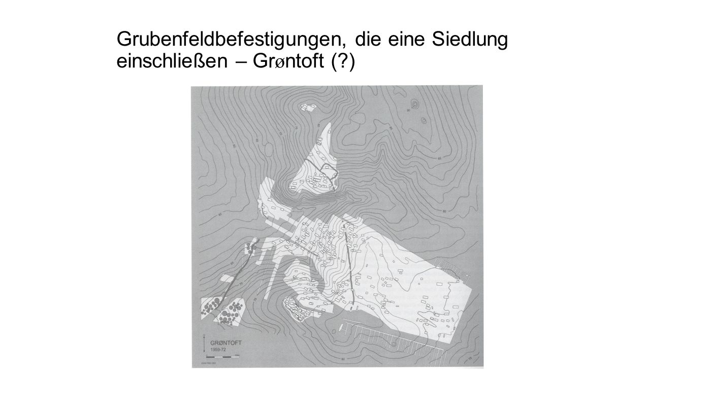 Grubenfeldbefestigungen, die eine Siedlung einschließen – Grøntoft ( )