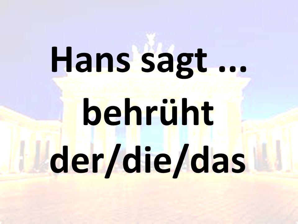 Hans sagt ... behrüht der/die/das