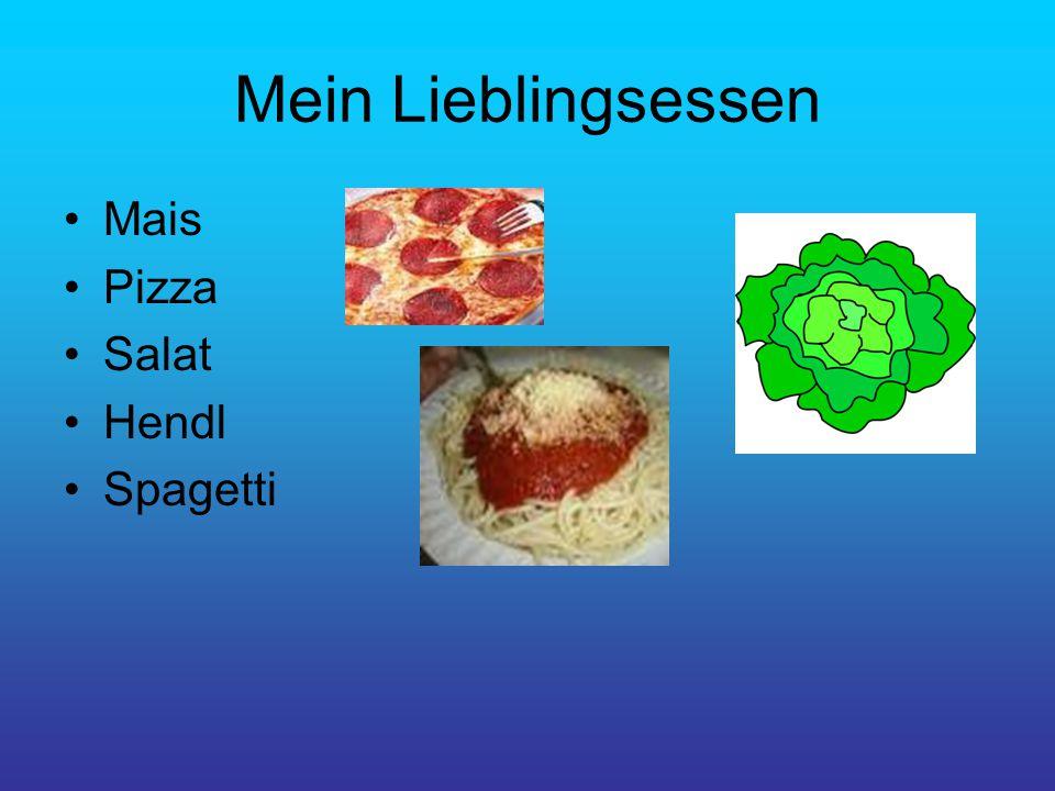 Mein Lieblingsessen Mais Pizza Salat Hendl Spagetti