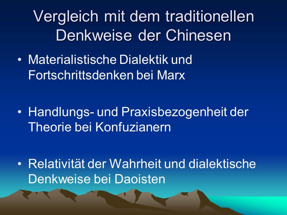 Vergleich mit dem traditionellen Denkweise der Chinesen