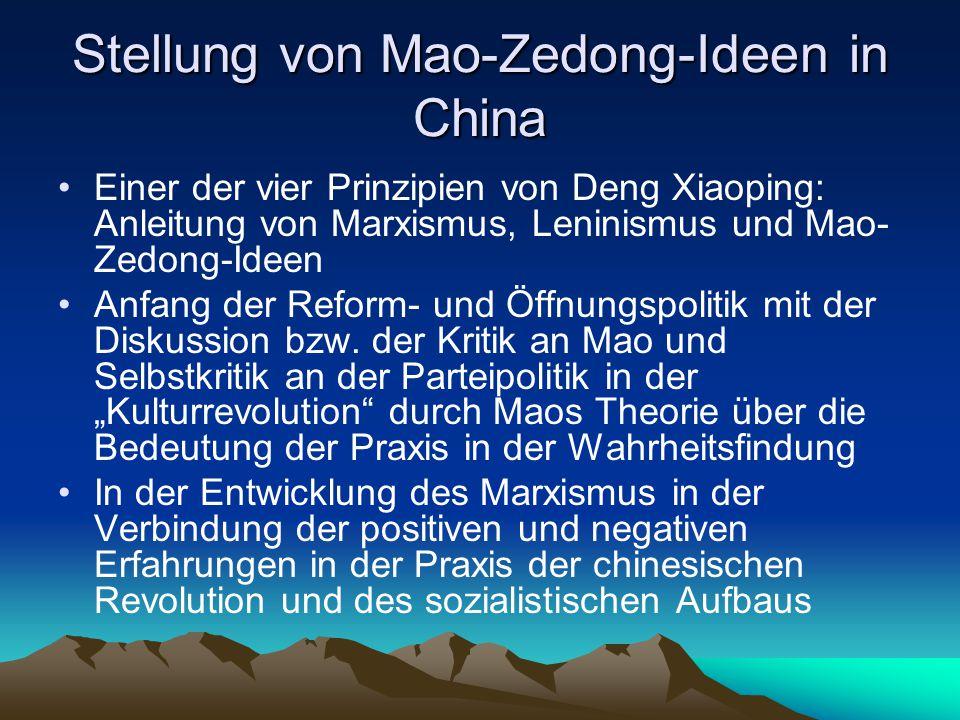 Stellung von Mao-Zedong-Ideen in China