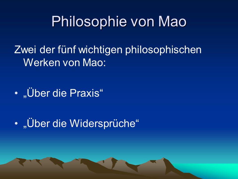 """Philosophie von Mao Zwei der fünf wichtigen philosophischen Werken von Mao: """"Über die Praxis """"Über die Widersprüche"""