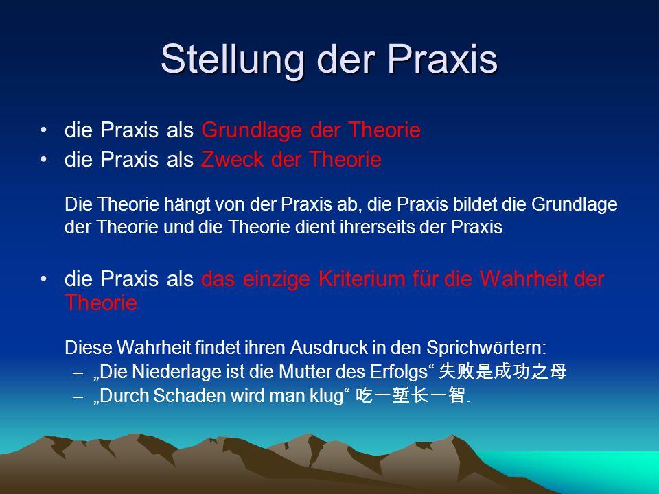 Stellung der Praxis die Praxis als Grundlage der Theorie