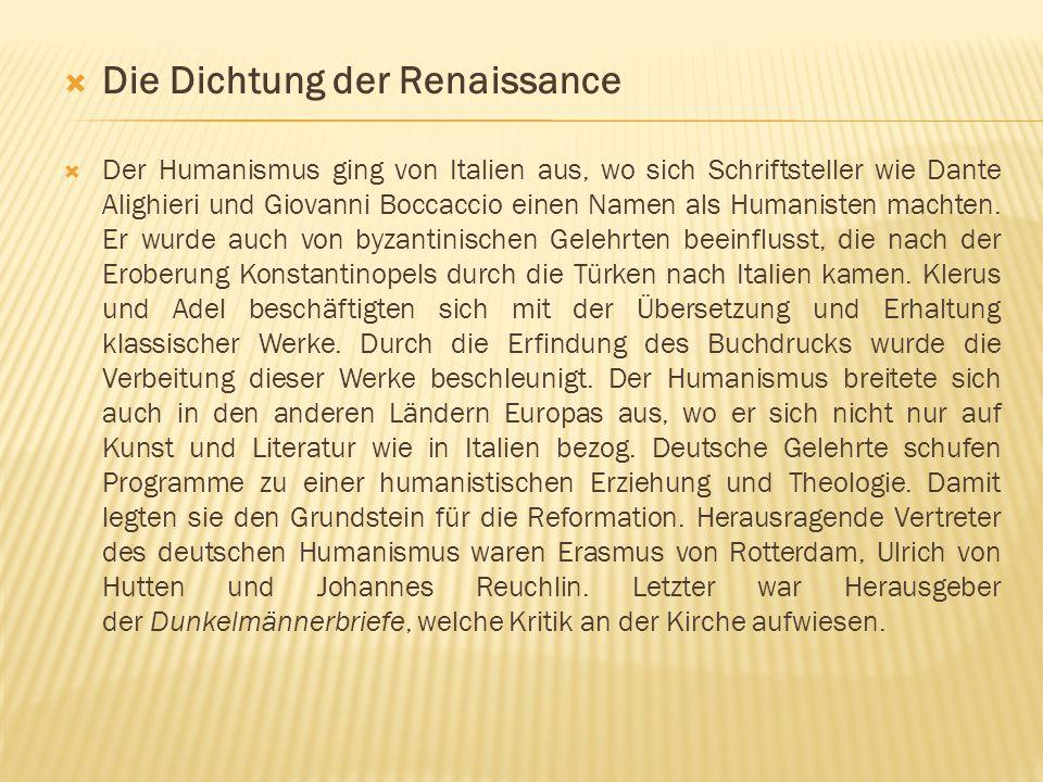 Die Dichtung der Renaissance