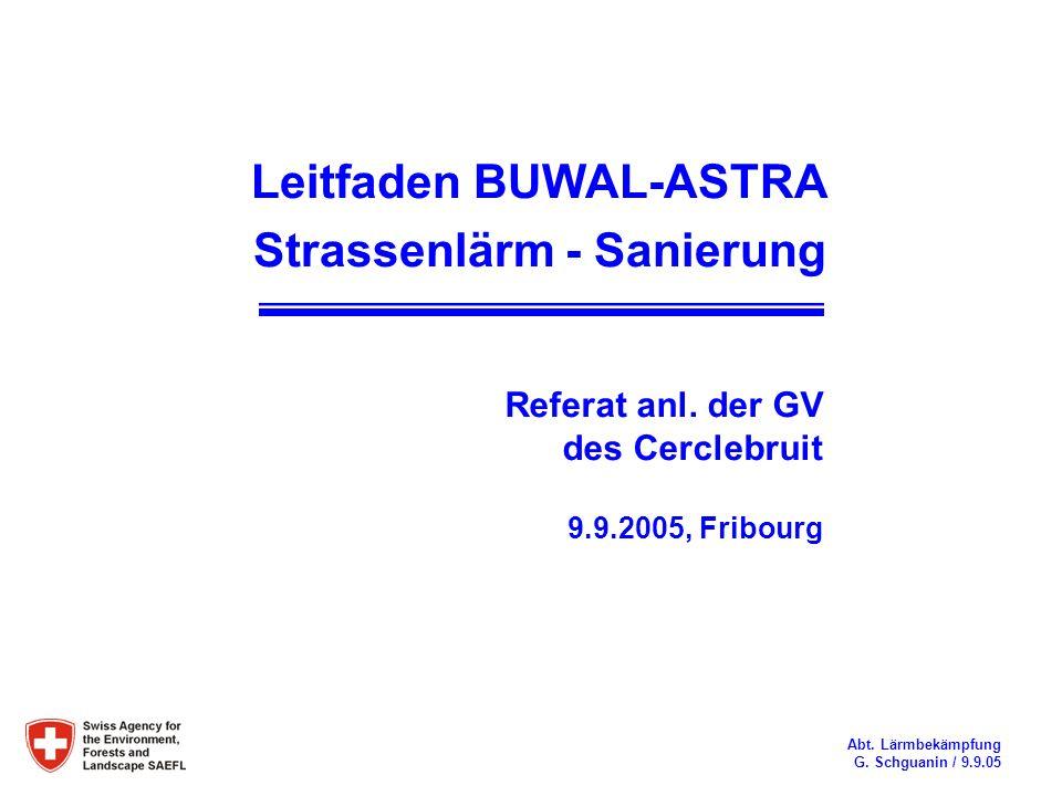 Leitfaden BUWAL-ASTRA Strassenlärm - Sanierung