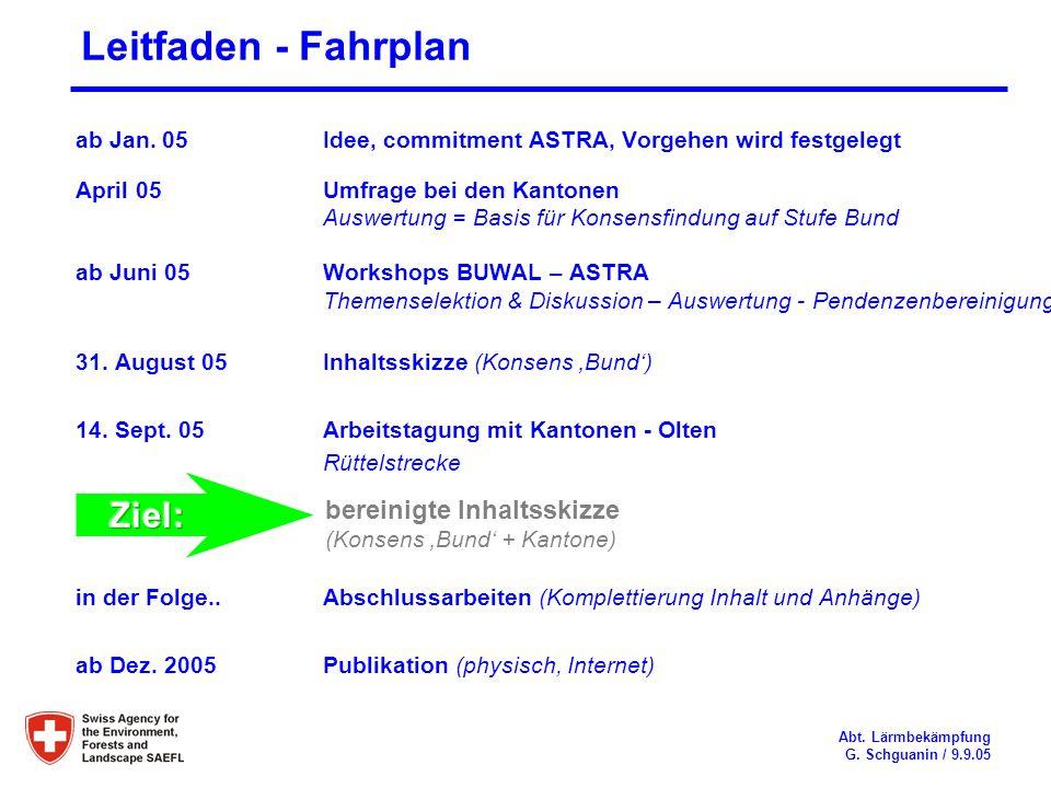 Leitfaden - Fahrplan bereinigte Inhaltsskizze Ziel: