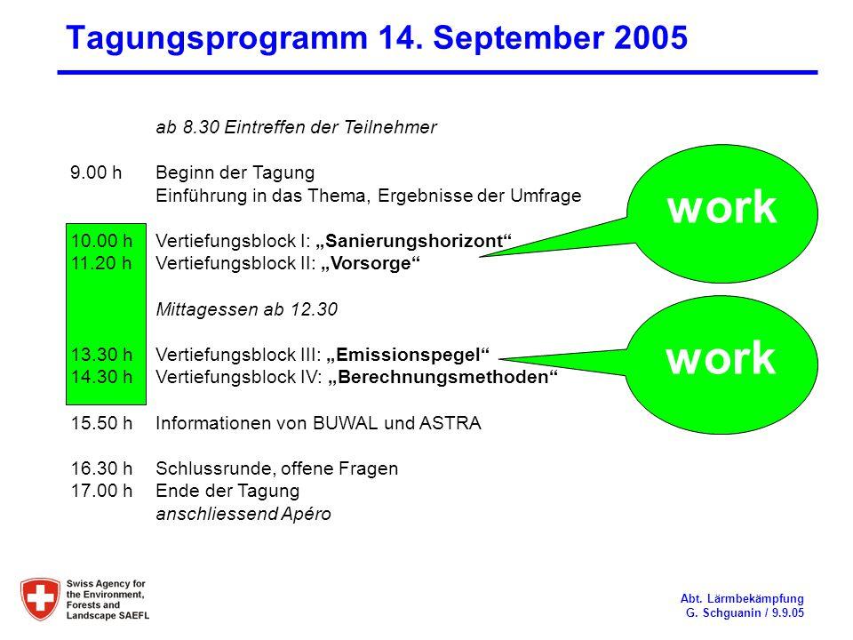 Tagungsprogramm 14. September 2005