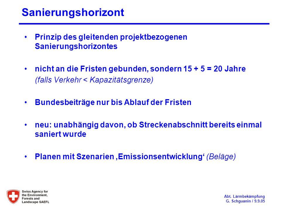 Sanierungshorizont Prinzip des gleitenden projektbezogenen Sanierungshorizontes. nicht an die Fristen gebunden, sondern 15 + 5 = 20 Jahre.