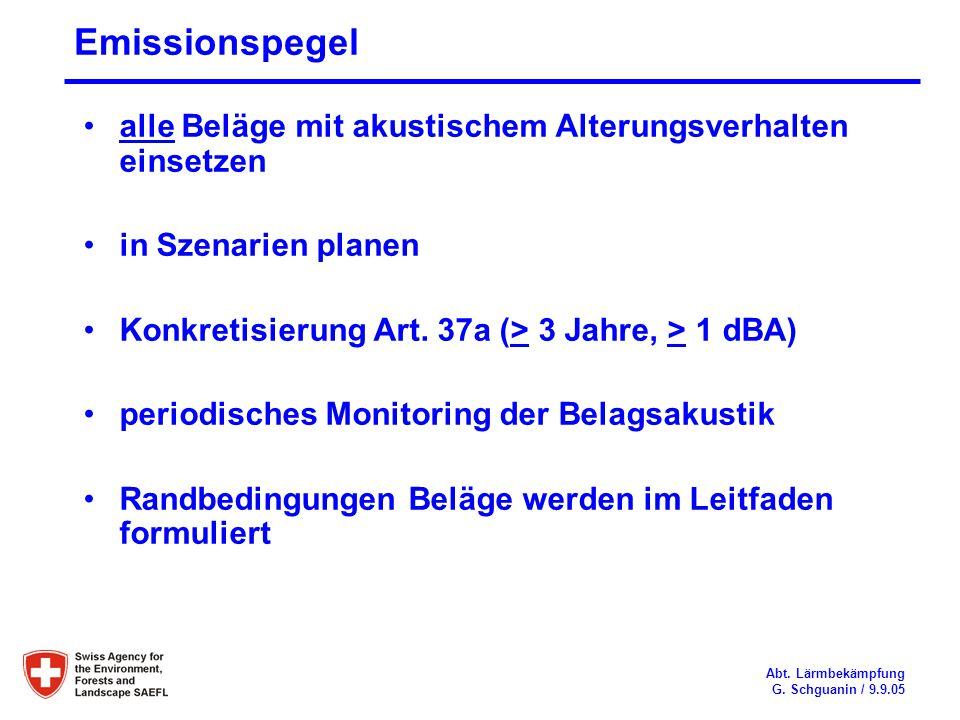 Emissionspegel alle Beläge mit akustischem Alterungsverhalten einsetzen. in Szenarien planen. Konkretisierung Art. 37a (> 3 Jahre, > 1 dBA)