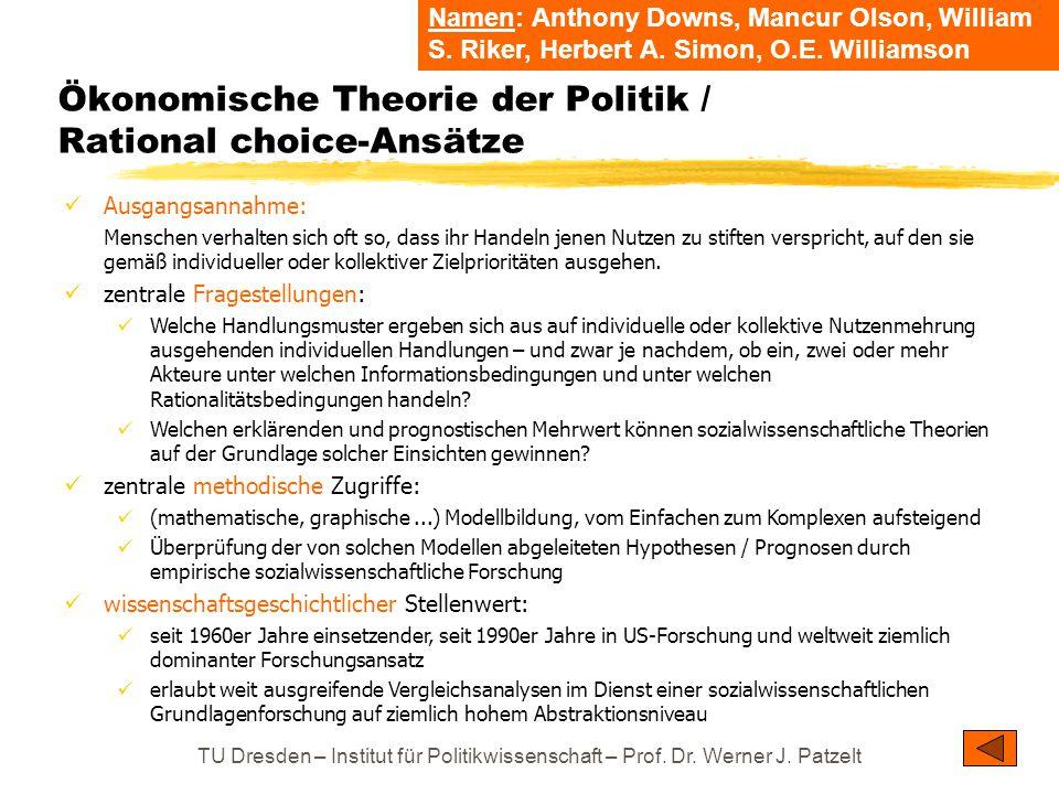 Ökonomische Theorie der Politik / Rational choice-Ansätze
