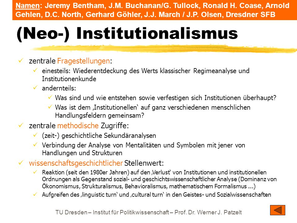 (Neo-) Institutionalismus