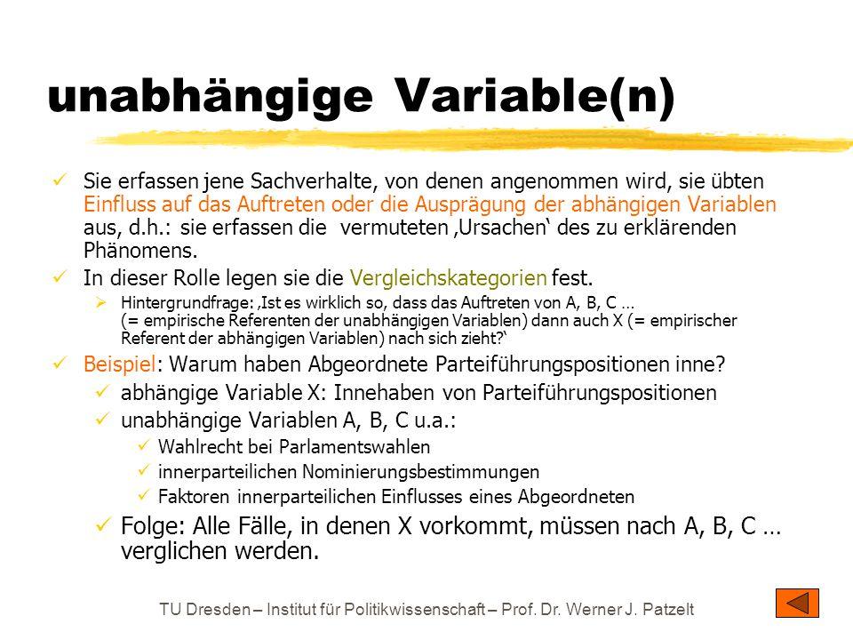 unabhängige Variable(n)