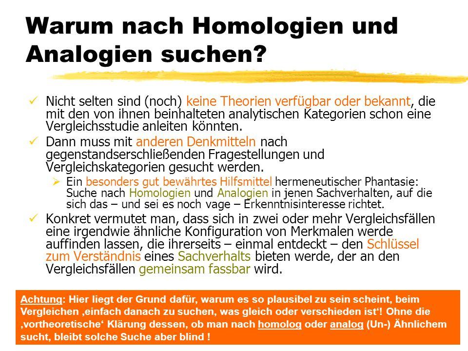 Warum nach Homologien und Analogien suchen