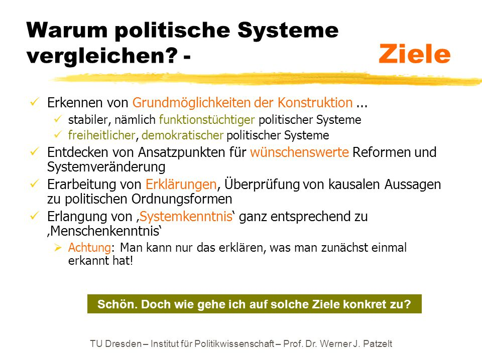 Warum politische Systeme vergleichen - Ziele