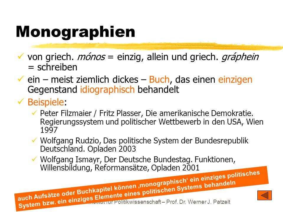Monographien von griech. mónos = einzig, allein und griech. gráphein = schreiben.