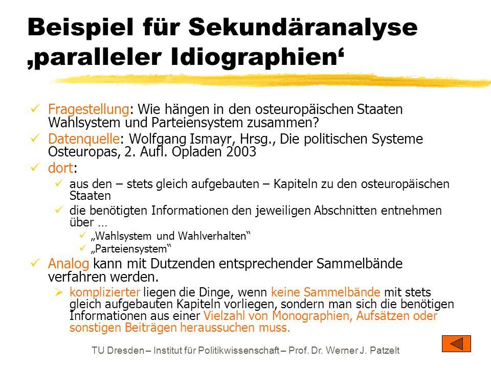 Beispiel für Sekundäranalyse 'paralleler Idiographien'