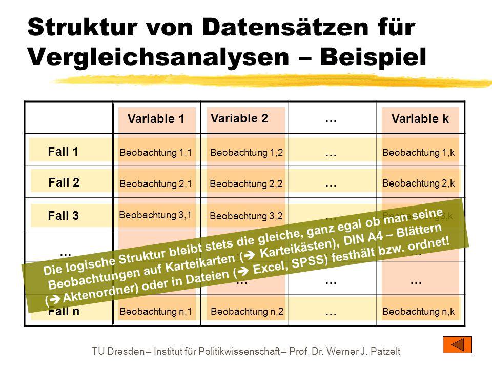 Struktur von Datensätzen für Vergleichsanalysen – Beispiel