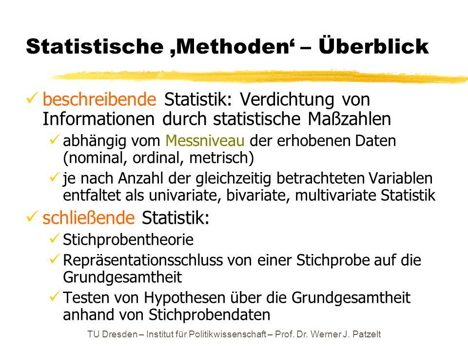 Statistische 'Methoden' – Überblick