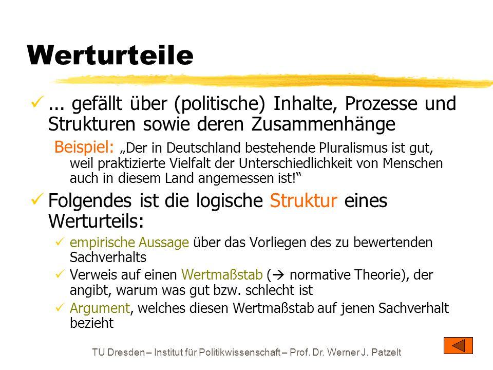 Werturteile ... gefällt über (politische) Inhalte, Prozesse und Strukturen sowie deren Zusammenhänge.