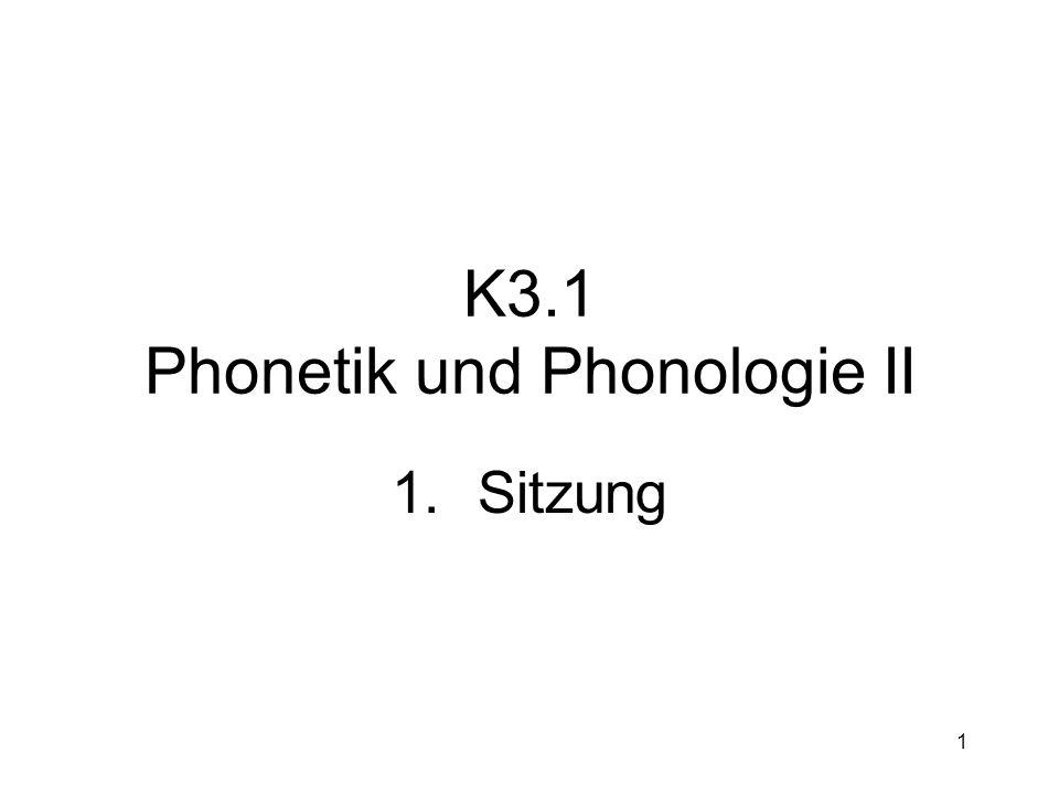 K3.1 Phonetik und Phonologie II