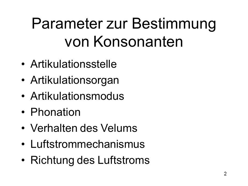 Parameter zur Bestimmung von Konsonanten