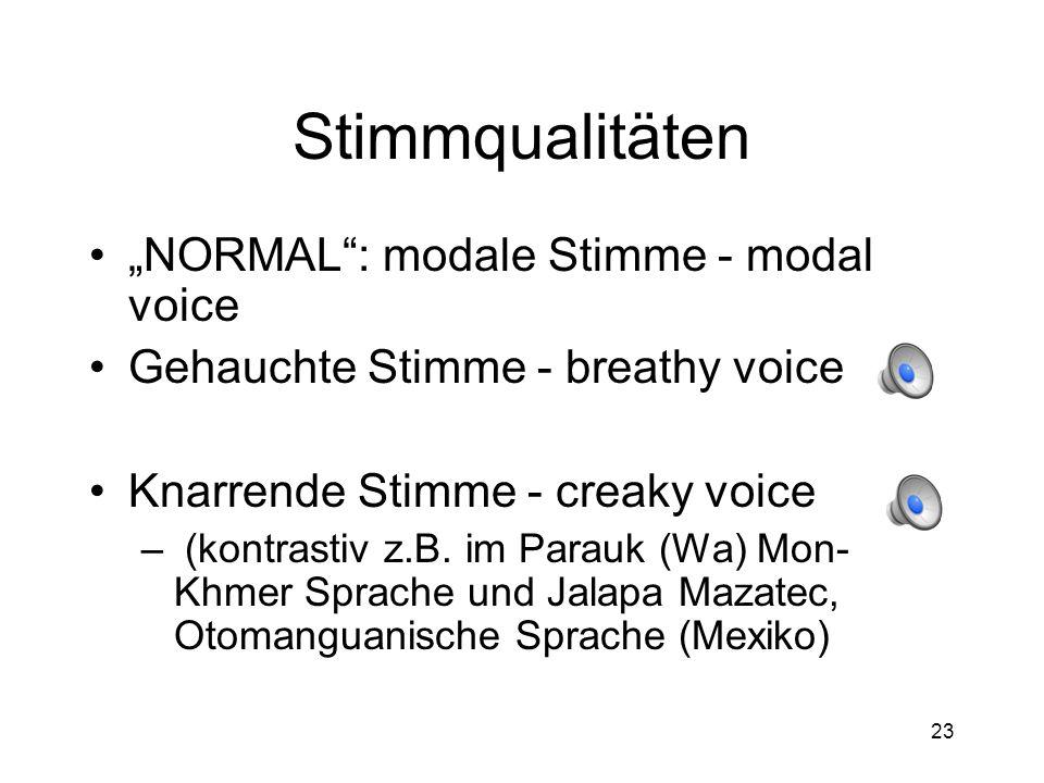 """Stimmqualitäten """"NORMAL : modale Stimme - modal voice"""