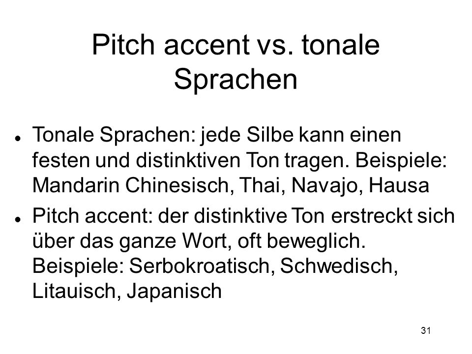 Pitch accent vs. tonale Sprachen