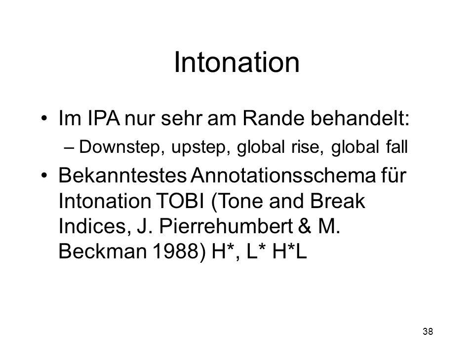 Intonation Im IPA nur sehr am Rande behandelt: