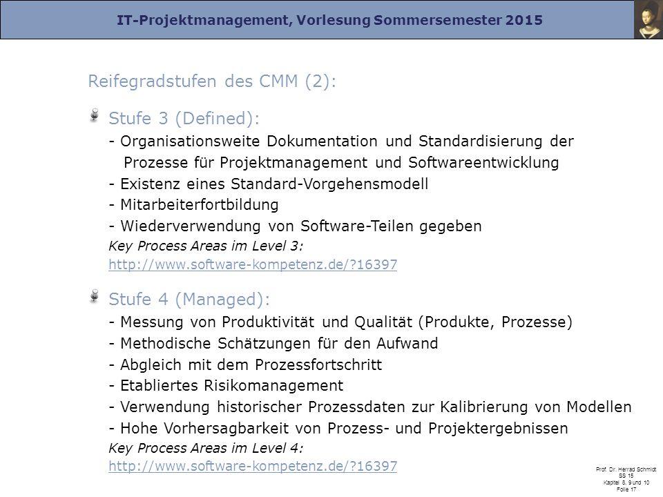 Reifegradstufen des CMM (2):