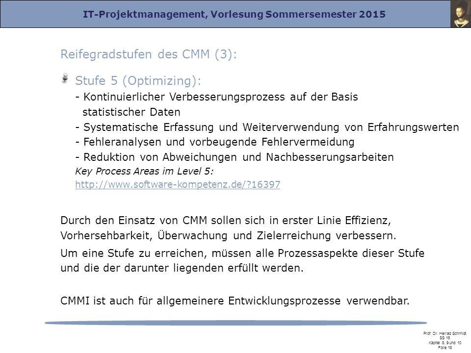 Reifegradstufen des CMM (3):