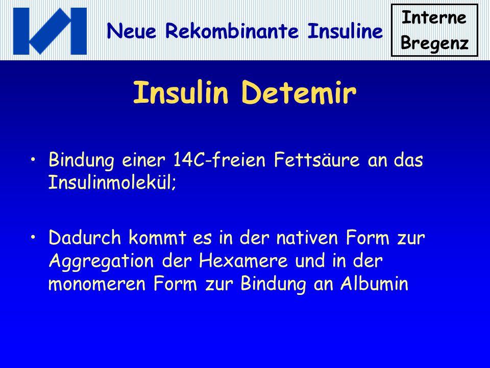 Insulin Detemir Bindung einer 14C-freien Fettsäure an das Insulinmolekül;
