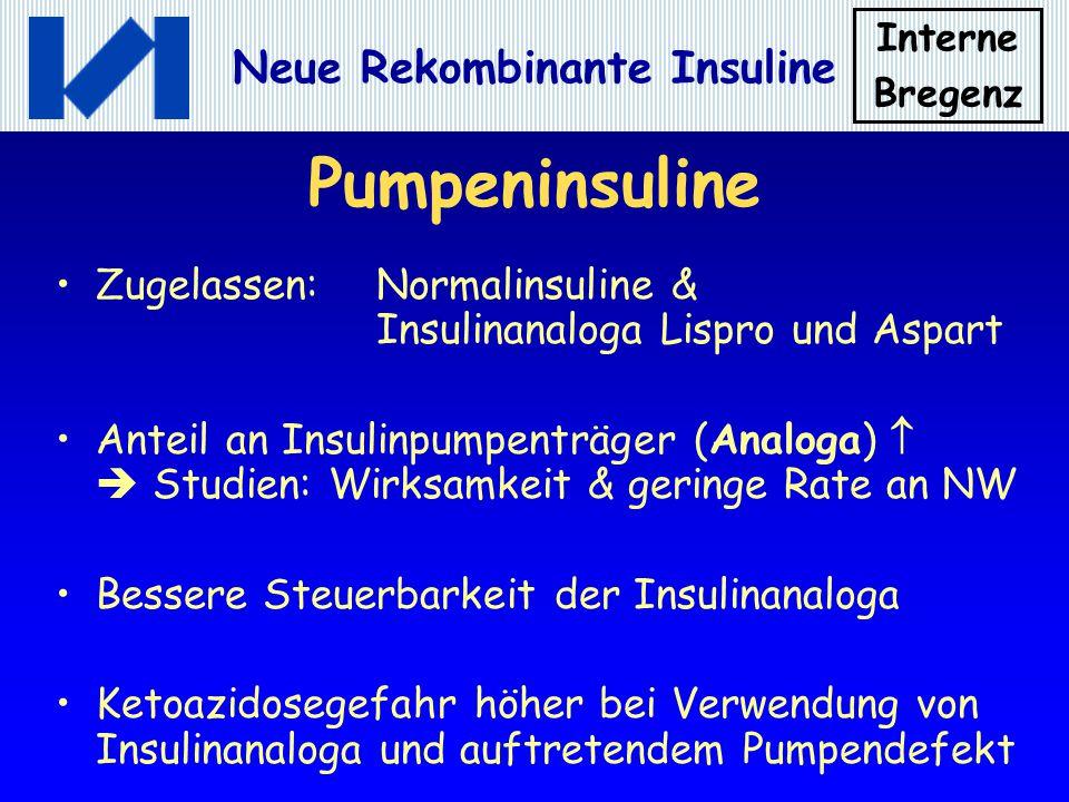 Pumpeninsuline Zugelassen: Normalinsuline & Insulinanaloga Lispro und Aspart.