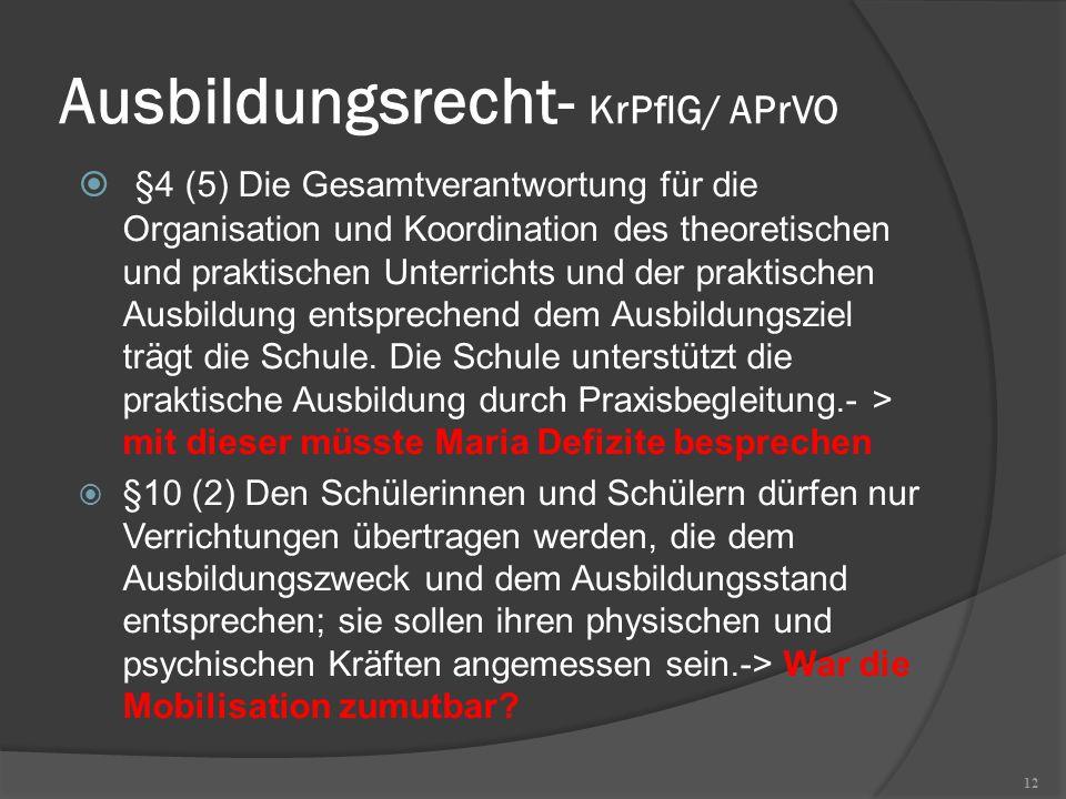 Ausbildungsrecht- KrPflG/ APrVO