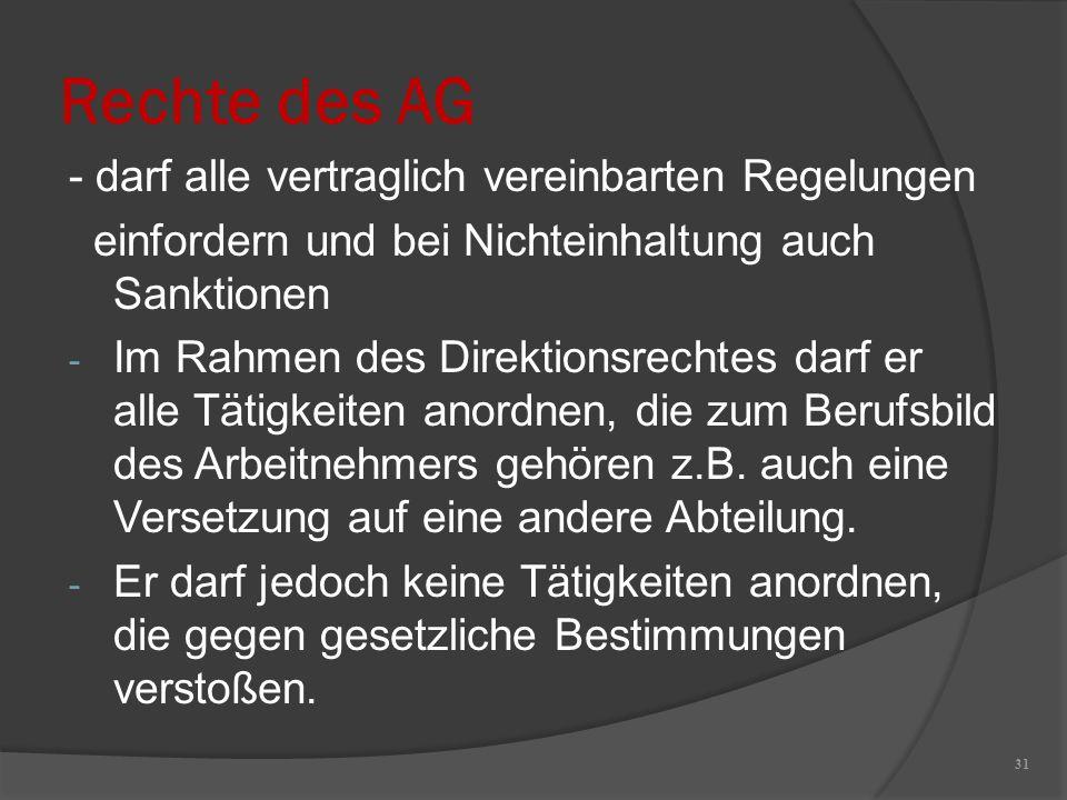 Rechte des AG - darf alle vertraglich vereinbarten Regelungen